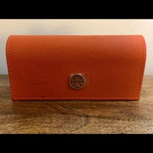 Tory Burch Orange Saffiano Leather Glasses Case